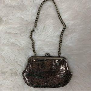Express gold sparkle clutch or shoulder bag purse